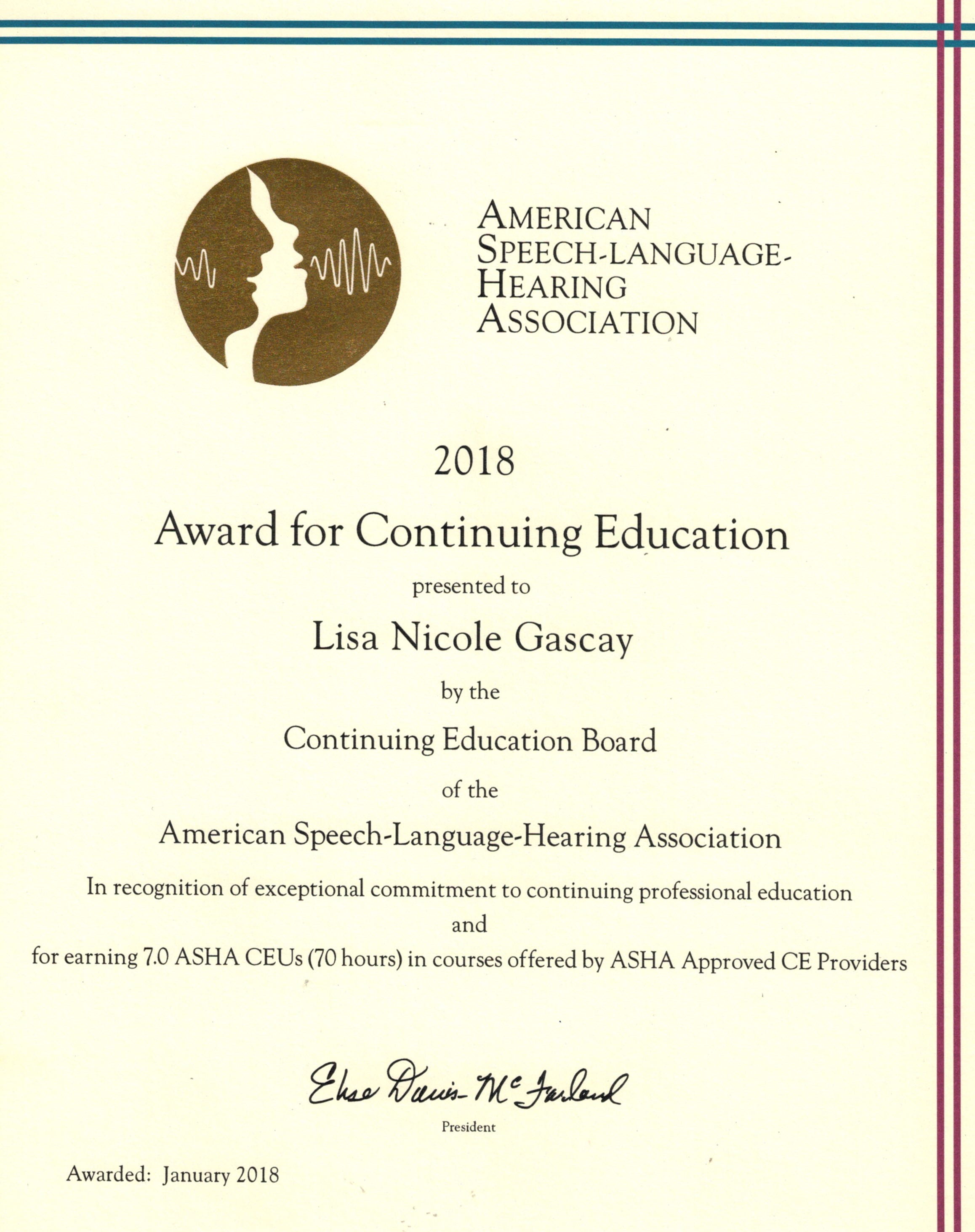 Continuing Education Award